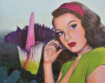 SECRET DESIRE - Original Acrylic Painting on Canvas ready to hang retro surreal pulp wall art - voodoo lily artwork by Jane Ianniello