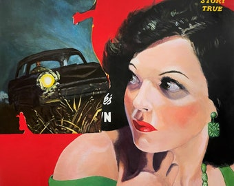 Killer on the Road Original Painting on Canvas retro acrylic surreal pulp wall art artwork by Jane Ianniello