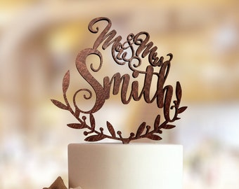 Wedding cake topper with personalized surname.  Personalized wedding cake topper. Rustic wedding cake topper. Custom wedding Cake topper.