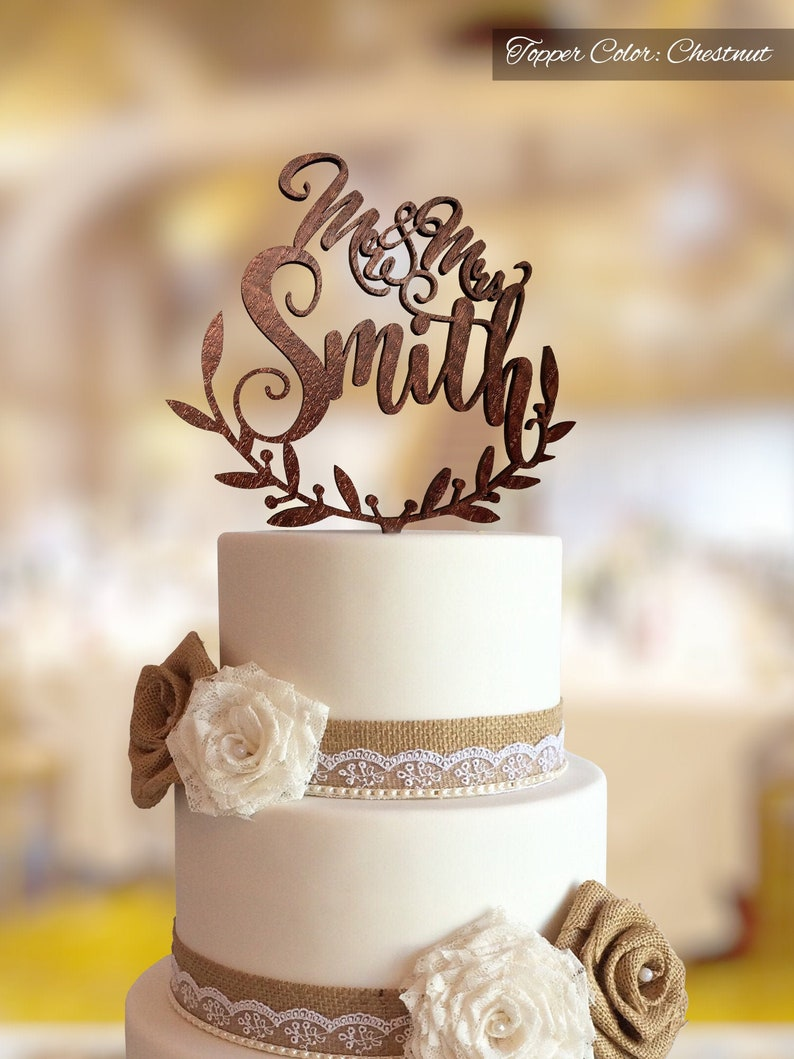 Wedding cake topper with personalized surname.  Personalized image 0
