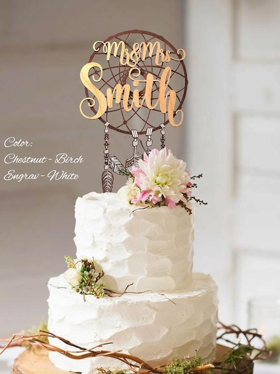 Boho Cake Topper Boho Wedding Cake Topper Mr And Mrs Custom