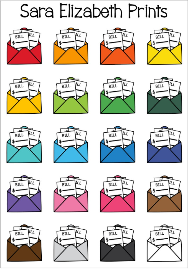 Bills Envelope Planner Stickers image 0