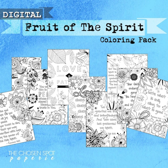 Coloring Pages Pack Fruit Of The Spirit Bible Verse Color Etsy