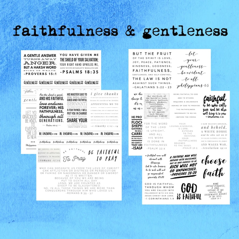 Bible Journal Stickers, Fruit of the Spirit, bible verses, christian gifts,  black and white, ministry gift, baptism gift, digital download
