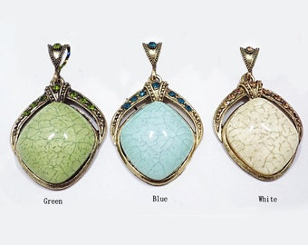 Gold Plated Nature Crystal Nature Stone Druzy Agate with Crystal Rhinestone  Pendant e342d06e2205