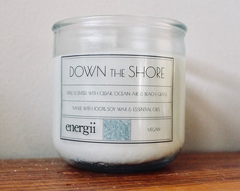 Down the Shore Soy Wax Candle 10 oz. in Recycled Glass