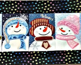 Table Runner Winter Snowman Table Runner Quilted Snowman Table Topper Winter Table Runner Five Snowman Faces