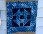 Burlap Garden Flag Vintage Quilt Block, Churn Dash Quilt, Hand Quilted 1920 39 s