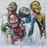 Shai Yossef Oil painting large/small/medium print on canvas happy kids ,children, extra large artwork,wall Africa art