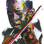 Shai Yossef unframed painting large print on canvas,wall art decor,decorative,portrait,Art & Collectibles-kid-music-Violin