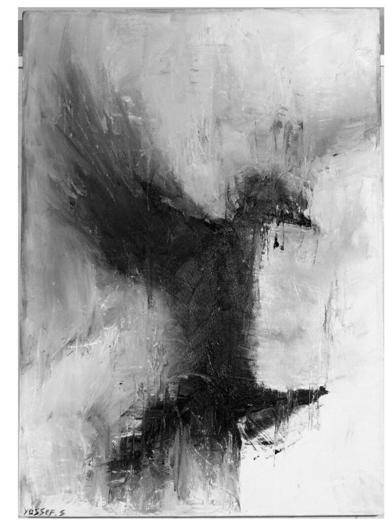ANIMALS BLACK BIRD Shai Yossef unframed painting large print on canvas,wall art decor,decorative,portrait,Art /& Collectibles