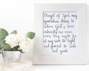 Printable Angel of God prayer - nursery, bedroom - 8x10