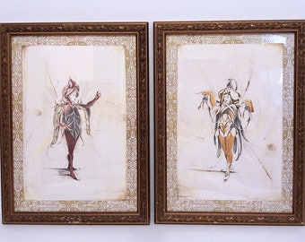 Two Beautiful Vintage Fairy Drawings or Prints / Snow Drop Fairy and Sweet Pea Fairy Wall Art/ Framed Flower Fairy Art Prints/