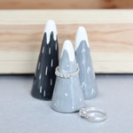 Grey mountain ring cones // Set of 3 set of  2, ceramic, ring holder, ring stand, jewellery stand, ring display, Scandinavian, ceramic,