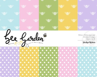 Bee Garden Basics Paper Pack – bee patterned and polka dot craft papers by StickerKitten (crafting, cardmaking, papercraft)