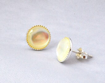 Sterling Silver Stud Earrings- Mother of Pearl Earrings- Mother of Pearl Jewellery- Mother of Pearl Jewelry- Birthday Gift- Sale- E32