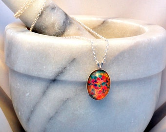 Sterling Silver Necklace- Fire Opal Glass Necklace- Fire Opal Jewellery- Fire Opal Jewelry- Fire Opal Pendant- Birthday Gift- Handmade