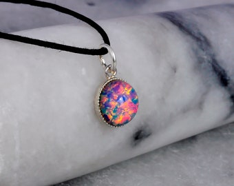 Fire Opal Glass Necklace- Waxed Cotton Cord Choker Necklace- Fire Opal Pendant- Opal Jewellery- Opal Jewelry- Birthday Gift- Handmade- N37
