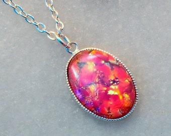 Glass Rose Fire Opal Necklace- Fire Opal Jewellery- Fire Opal Jewelry- Rose Fire Opal Pendant- Rose Petal- Rose Jewelry- Handmade- N85