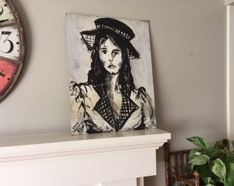Vintage Seventies original signed oil painting on board/black and white/wall art