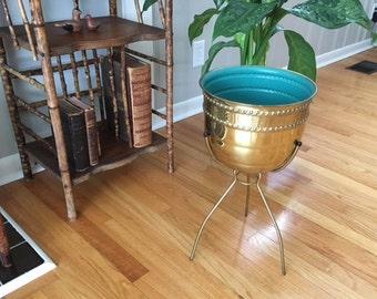 "Vintage Mid century Modern Brass plant stand/planter by "" Contempora"" on tripod"