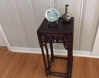 Pr. Vintage/Antique Chinese Ornate Hardwood Stacking Tables/Plant Stands