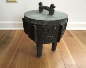 Vintage Mid Century Modern James Mont Asian Style Ice bucket faux bronze metal plant stand