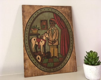 Vintage Hand painted Folk Art plaque on wood/child with Toy Horse/Nursery/child's room