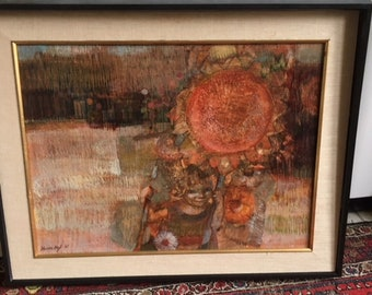 Large Mid Century Modern Abstract Expressionist original signed Oil Painting