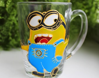 Happy Minion Coffee Mug Handmade, Birthday Gift Party Favors, Hand Painted Despicable Me.