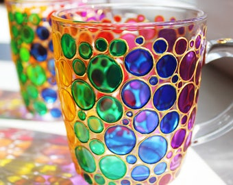 5f8dbafbdeb Custom Bubbles Mugs Set of 2, Personalized Hand Painted Sun Catcher Multi  Coloured Rainbow Glass Coffee Mug.