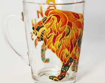 Lion mug, Personalized mugs, Coffee mug, funny cups hand painted Mens mug gift for men Lion goes Boyfriend mug Animal cup Glass mug for him
