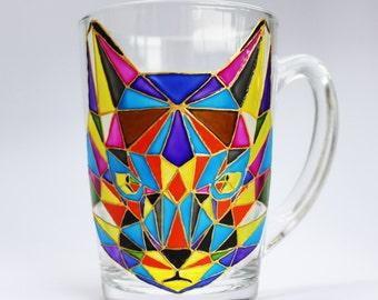 Cat mug Unique Coffee Mug painted mug Funny coffee mug handmade Cute coffee mug Custom coffee mug Hand Painted mug Gift coffee mug