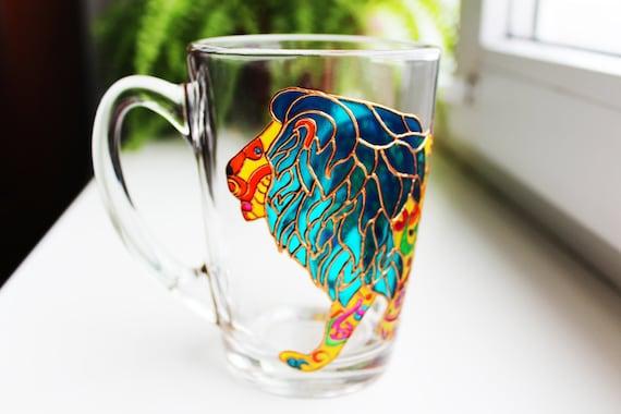 Lion Coffee Mug Painted Mugs Funny Custom Lion Mug Cute