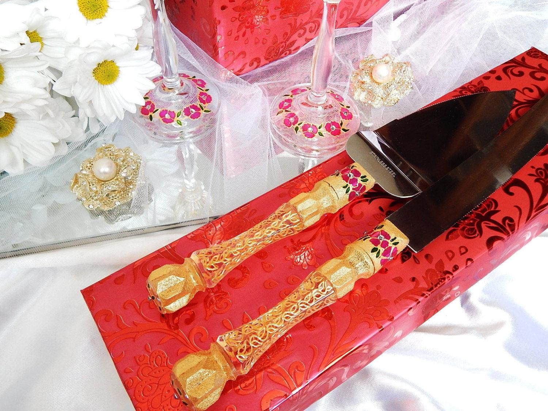 Wedding Cake Knife Gold Cake Server Cutting Set Cutter