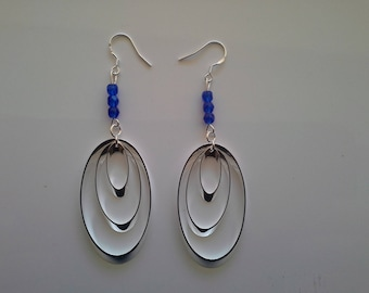 lengthh drops beads blue 925 sterling silver
