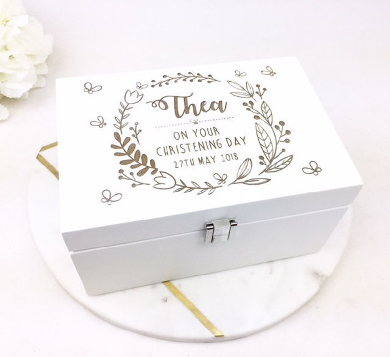 Personalised Christening Gift Personalised Baptism Gift Gift For Baby Girl On Her Christening Day Jewellery Box Jewerly Box White Box