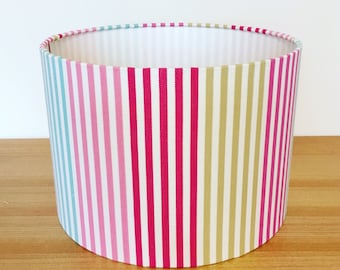 Patterned lampshades cc handmade designer bespoke lampshades handmade fabric lampshade harlequin mimi checks stripes boogie woogie in lipstick aloadofball Choice Image
