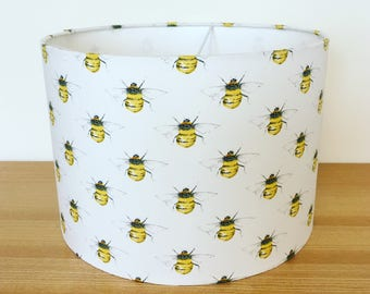 Handmade Fabric Lampshade, Bumble Bees, by Rose and Hubble