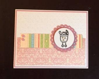 baby girl homemade card; baby girl shower card; baby girl; blank card; pink baby girl card; pink baby girl shower card; homemade baby girl
