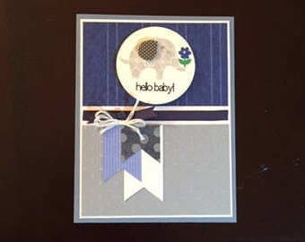 homemade baby boy blue shower card; blue baby boy shower card homemade; blank card; homemade baby blue card; baby card homemade; shower card
