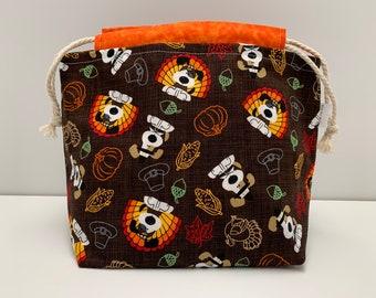 Thanksgiving Dog Medium Drawstring Bag