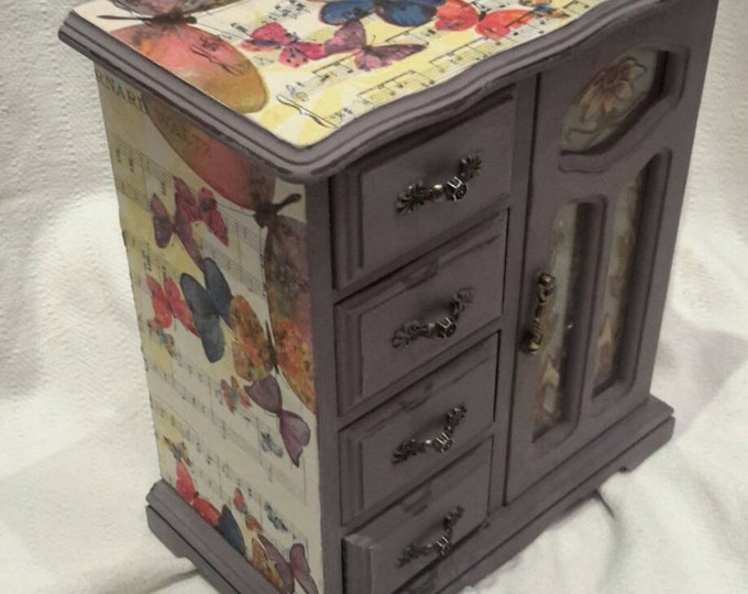 large vintage,chest drawers,butterfly box,paris,vintage music paper,lace Musical Jewelry box,jewellery cabinet,shabby chic jewellery box