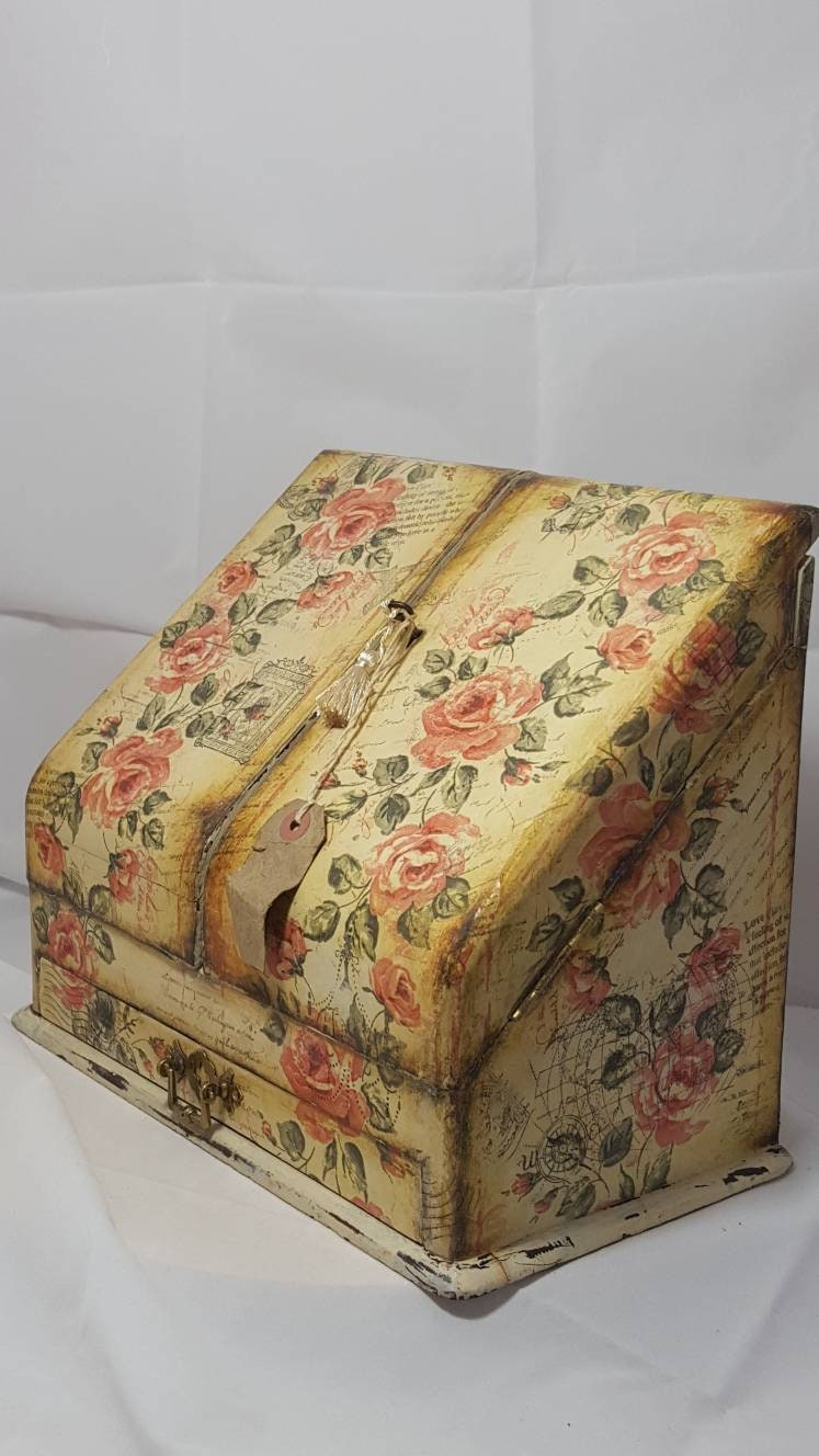 Antique desk tidy rustic stationery holder,document box,letter  storage,letter holder,writing box hand decorated decoupage.shabby chic paris - Antique Desk Tidy Rustic Stationery Holder,document Box,letter