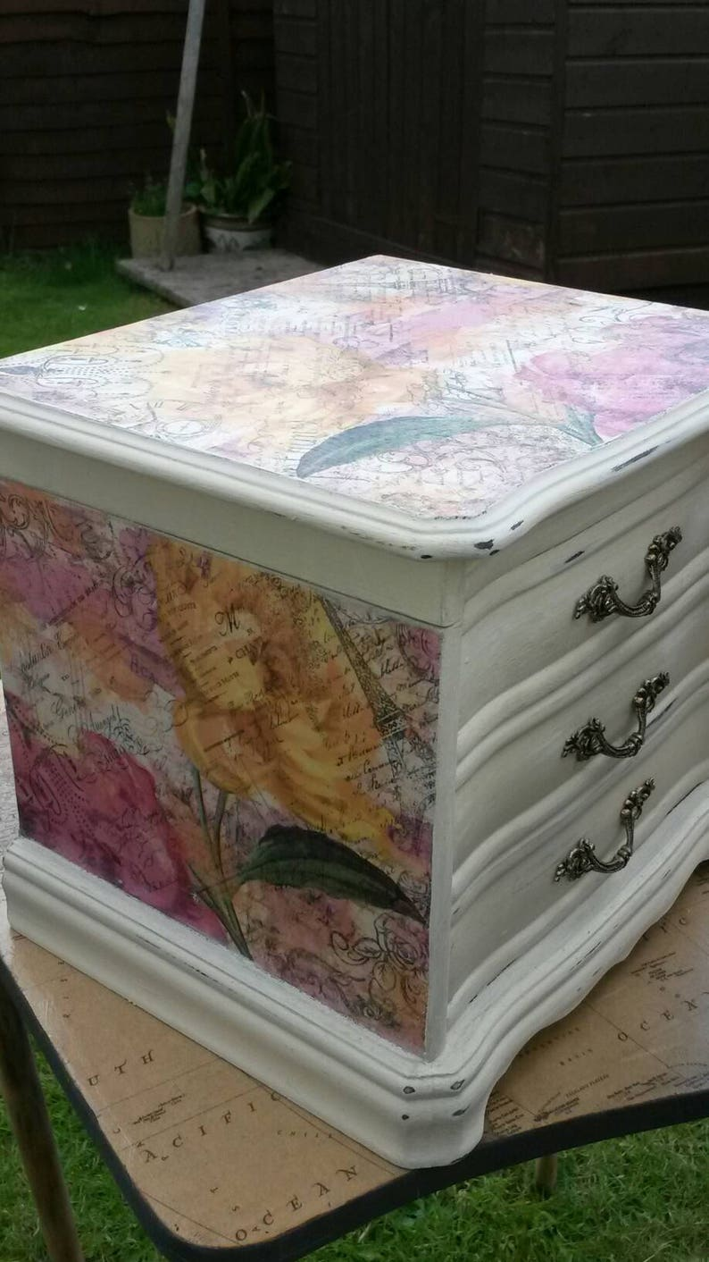 mini chest drawers Jewelry box,vintage shabby chic jewellery box,Paris,hand painted,decoupage,butterfly,pink,yellow jewelry drawers,french