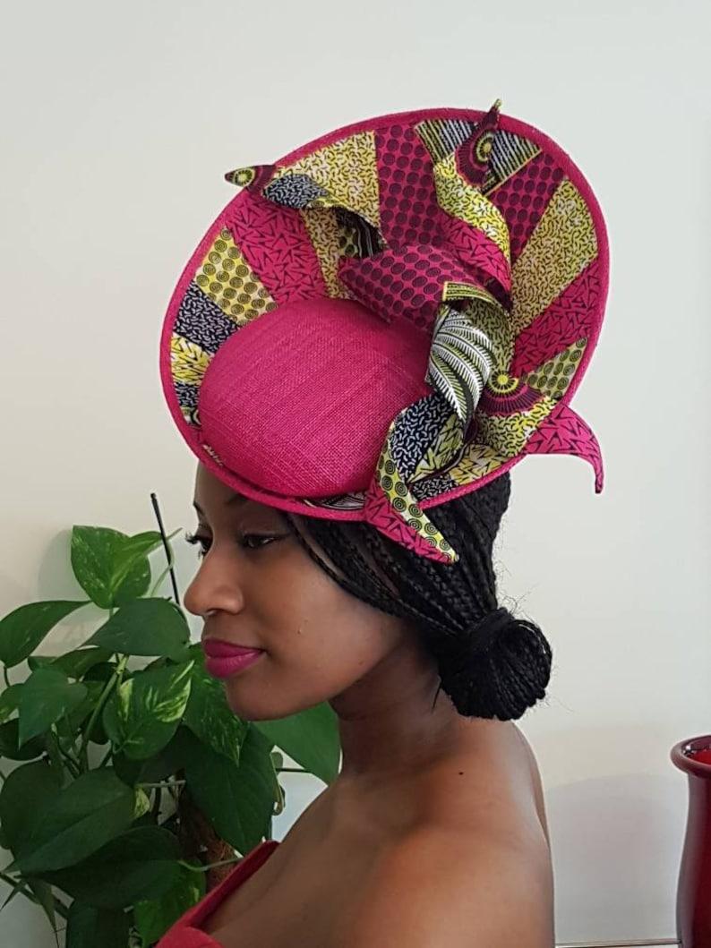 1f141326ee2 Ankara fabric and Sinamay Side Upsweep Fascinator with Spiral