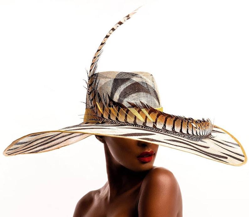 d5ab4ed0 Stunning Sinamay Fedora ideal for Weddings Safari Garden | Etsy