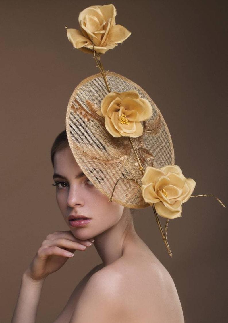 f360773e Beautiful Gold Sinamay Disk Fascinator. For Weddings Royal | Etsy