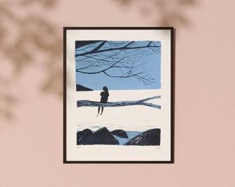 Original screen print | Girl by the sea illustration | Original art print