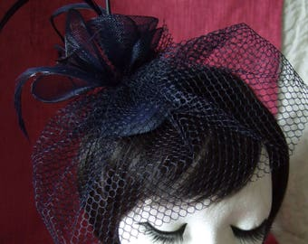 New Navy Blue Coiled Feather Fascinator Comb Headpiece  Weddings Funeral Races,